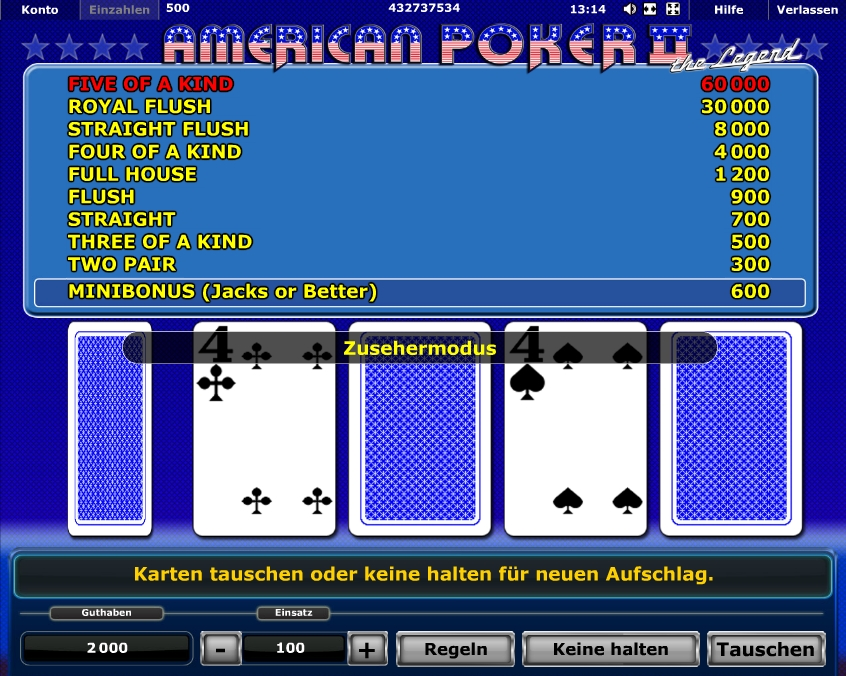 start online casino american poker 2 spielen